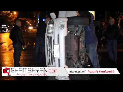 Երևանում բախվել են Porsche Cayenne-ն ու Mitsubishi Pajero-ն. վերջինը կողաշրջվել է