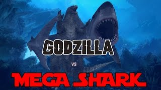 Godzilla 2014 Meets Mega Shark - 3D Animation