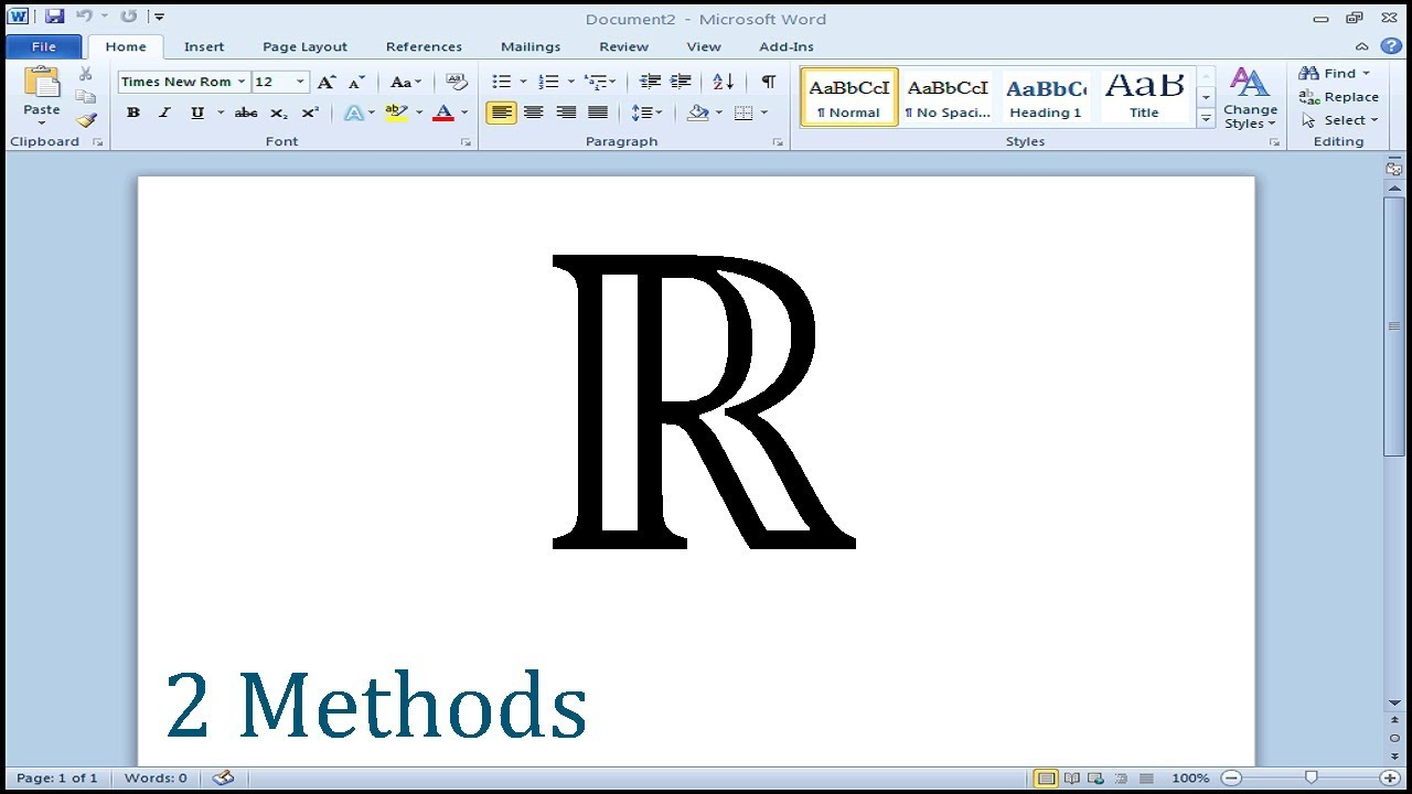 How To Type Set Of Real Numbers Symbol In Word Youtube