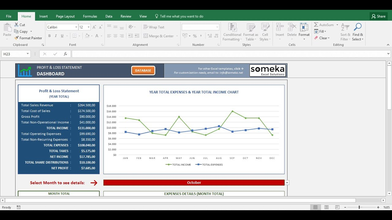 Profit And Loss Statement Template   Free Excel Spreadsheet   YouTube  Excel Profit And Loss Template