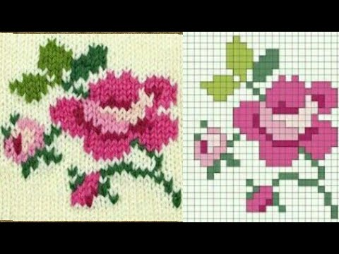 fe6f00a65 गुलाब बुनाई ग्राफ / All type of Rose graph chart for knitting & cross  stitch / dosuti rose graph
