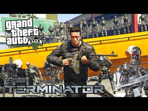 THE TERMINATOR vs ROBOT ARMY ATTACK!! (GTA 5 Mods)