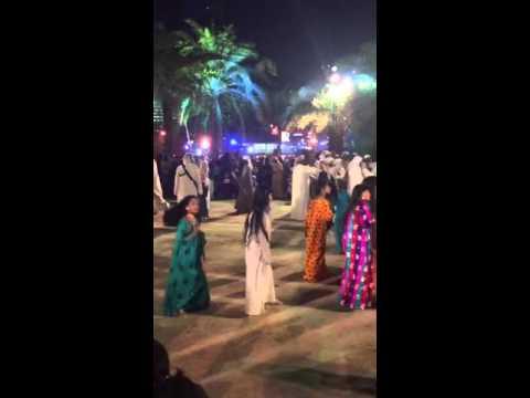 Emirati girls dancing at Qasr Al Hosn Festival in Abu Dhabi