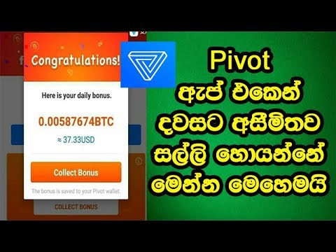 Bitcoin Sinhalen | Pivot sinhalen | Pivot App Earning Daily 10$ to 1000$