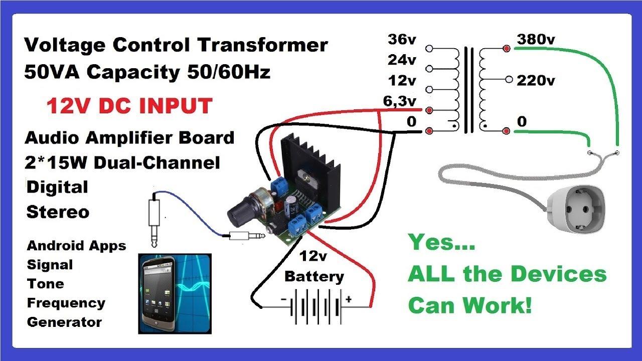 make dc to ac inverter with mobile app audio amplifier diy circuit  [ 1280 x 720 Pixel ]