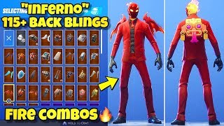 "NEW ""INFERNO"" SKIN Showcased With 115+ BACK BLINGS! Fortnite Battle Royale (BEST INFERNO COMBOS)"