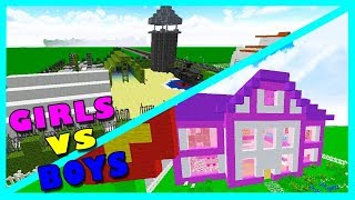 BOY VS GIRL BASE BUILD CHALLENGE! Minecraft Little Kelly