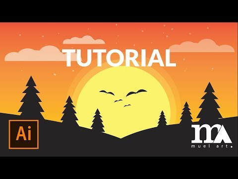 Adobe Illustrator Tutorial 2019 - Draw Simple Landscape Flat Design