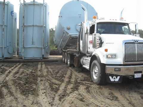 Alberta Oilfield - Jason Raising 400 BBL Tanks