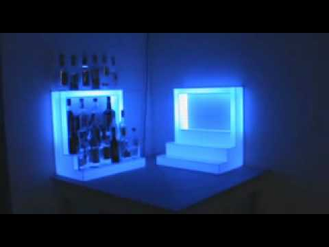 Gentil Custom Light Up Bar Bottle Display With Top Shelf.wmv