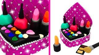 DIY How to Make Play Doh Makeup Set with Glitter Eyeshadow, Lipstick and Nail Polish