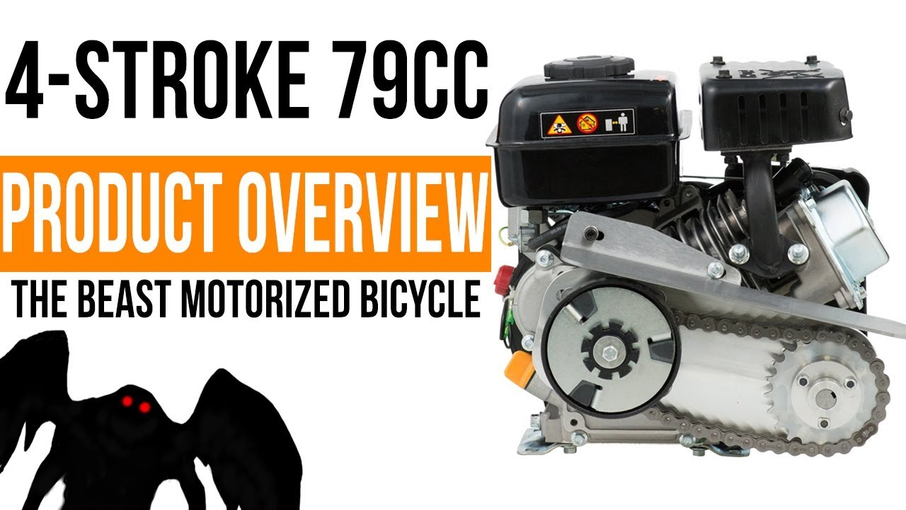 best 79cc pull start 4 stroke engine kit the beast motorized bicycle [ 1280 x 720 Pixel ]