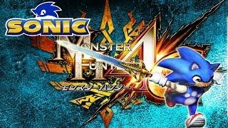 monster hunter 4g ultimate dlc sonic reward felyne set caliburn y traje de sonic