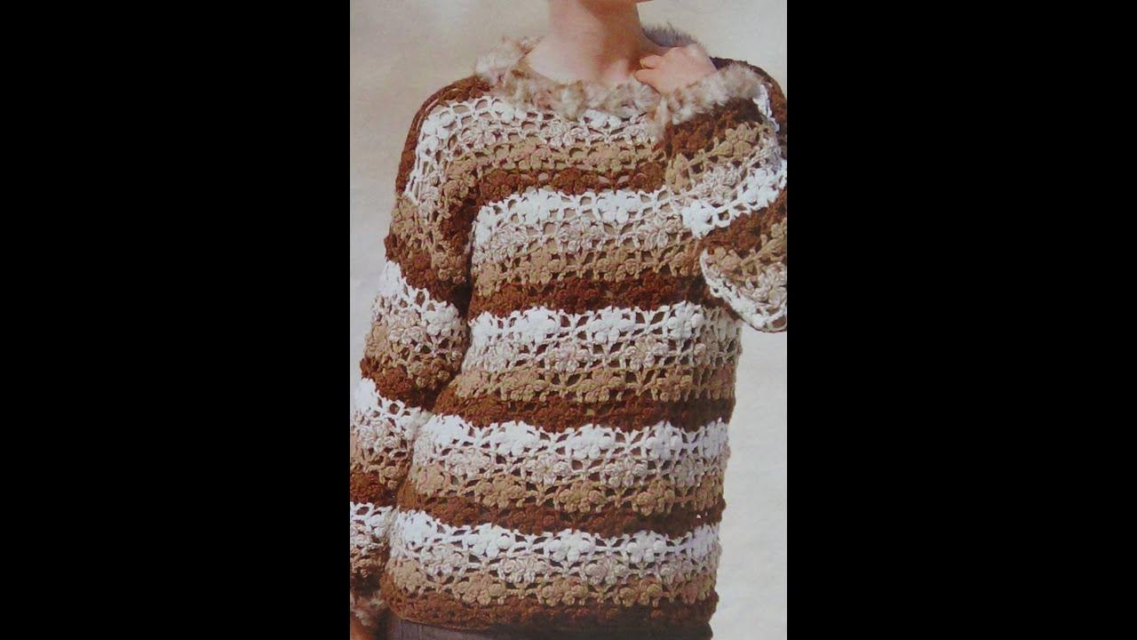 Como tejer jersey con muestras de flores a crochet youtube - Como hacer flores de ganchillo ...