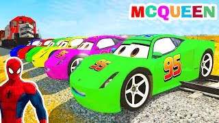 colors mcqueen cars cartoon with spiderman and color for kids w nursery rhymes