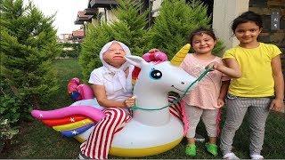 Grandma Kids Pretend Inflatable giant unicorn, Family fun kids video