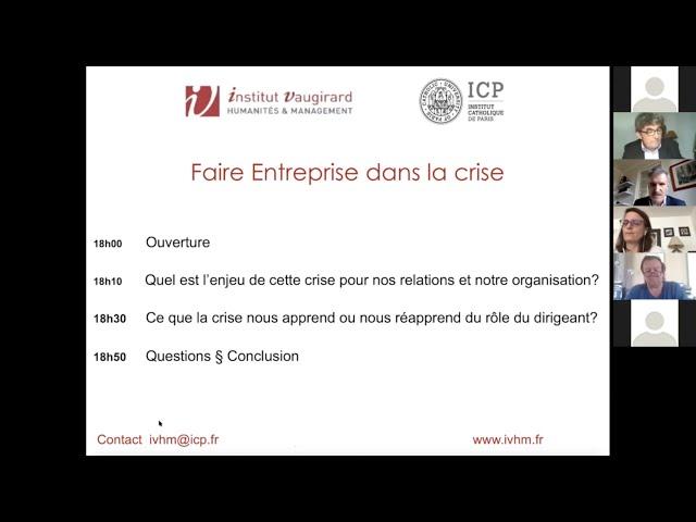 Web conference   Faire Entreprise dans la crise