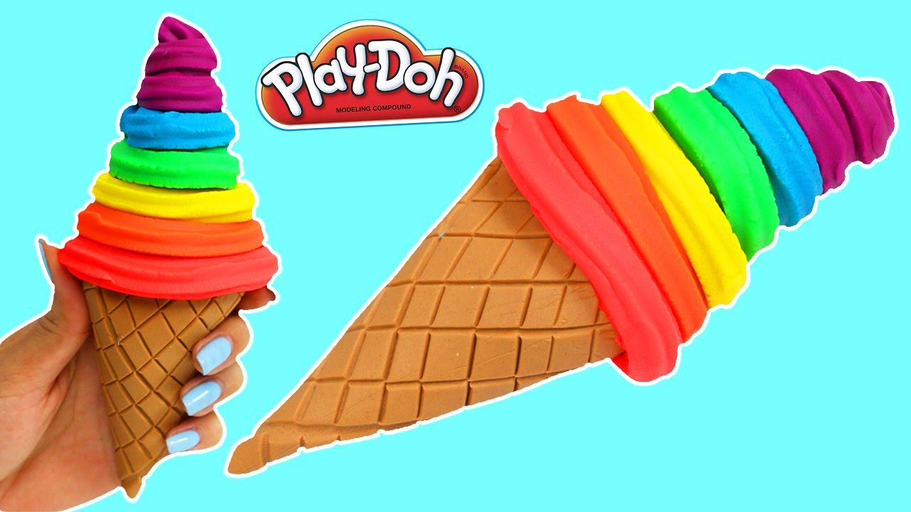 How to make a rainbow play doh soft serve ice cream cone youtube ccuart Choice Image
