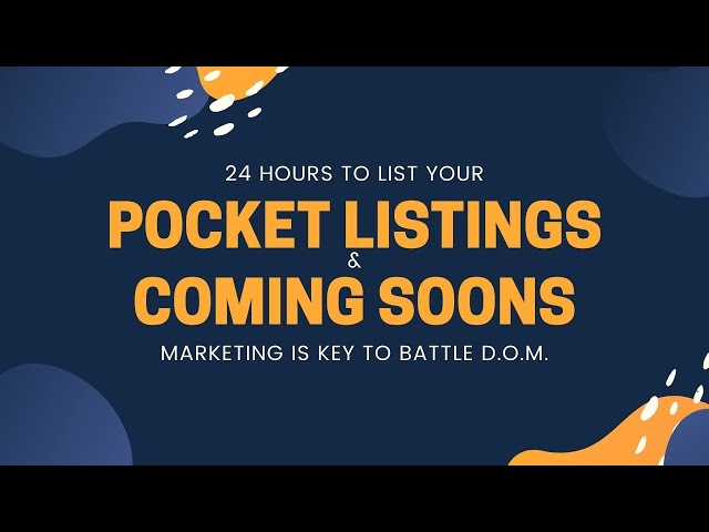 #missionreport -  NAR forbids pocket  listings and coming soon's watch for more details.