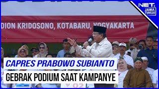 Prabowo Gebrak Podium Saat kampanye Di Yogyakarta - NET. JATIM