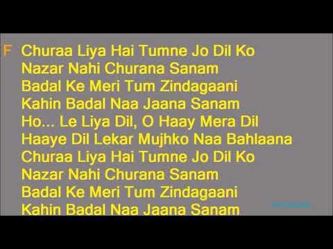 Chura Liya Hai Tumne Jo Dil Ko Lyrics With Karaoke Music  Asha Bhosle Mohammed Rafi Duet Hindi