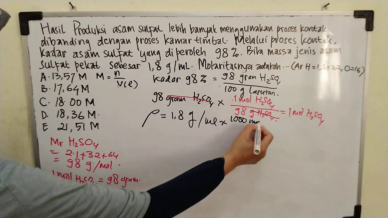 Hubungan molaritas, massa jenis larutan dan kadar zat ...