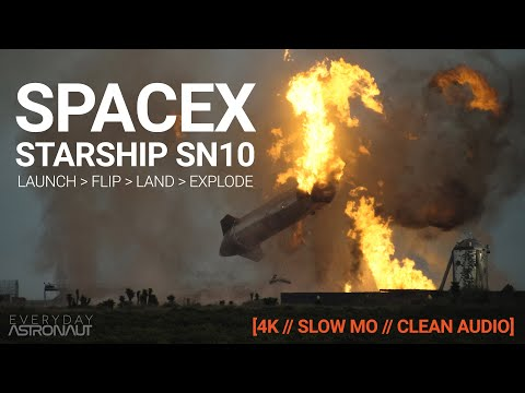 Starship SN10 [4k, Clean Audio & Slow Mo Supercut]