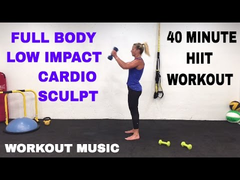 40 Minute Full Body, Low Impact Cardio + Sculpt + Weights HIIT Workout, Barefoot Workout