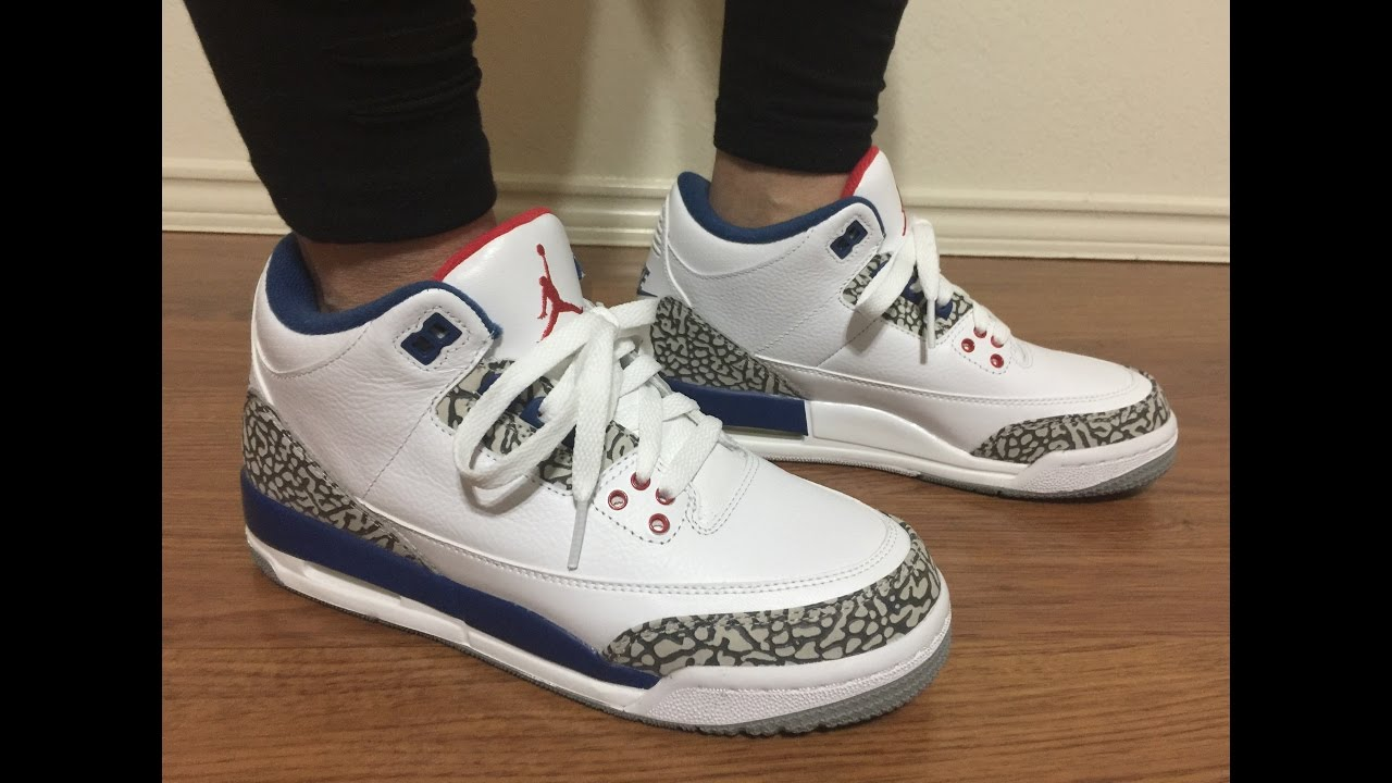 cb7a42c13304 Wife s Jordan Retro 3 OG True Blue unbox and on feet review - YouTube