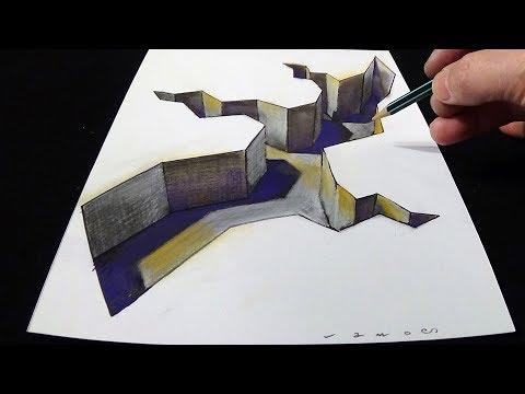 Coloring 3D Hole - Drawing 3D Gap - Trick Art By Vamos