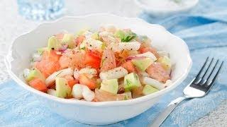 Салат из кальмаров овощей и грейпфрута
