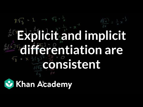 Showing explicit and implicit differentiation give same result