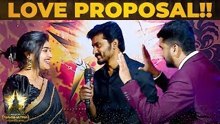 """I LOVE YOU"" – Sidhu & Shreya Anchan Romantic Proposal At Galatta Nakshatra Awards 2019"