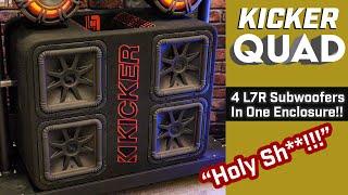 """Kicker ql7r12 quad!!!! massive ported enclosure with four 12"""" l7r subwoofers!!!!"""