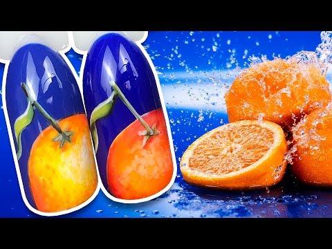 🍊 Яркий Апельсин на Синем Фоне 🍊 Осенний Дизайн Ногтей Гель-лаком к Маникюру Пошаговый Мастер Класс