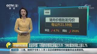 [中国财经报道]农业农村部:6月猪肉价格同比涨幅达29.8% 六种水果均价同比上涨51.7%| CCTV财经