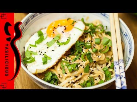 Schnelle ERDNUSS SESAM NUDELN – Erdnussbutter Ban Mian – einfaches chinesiches Rezept