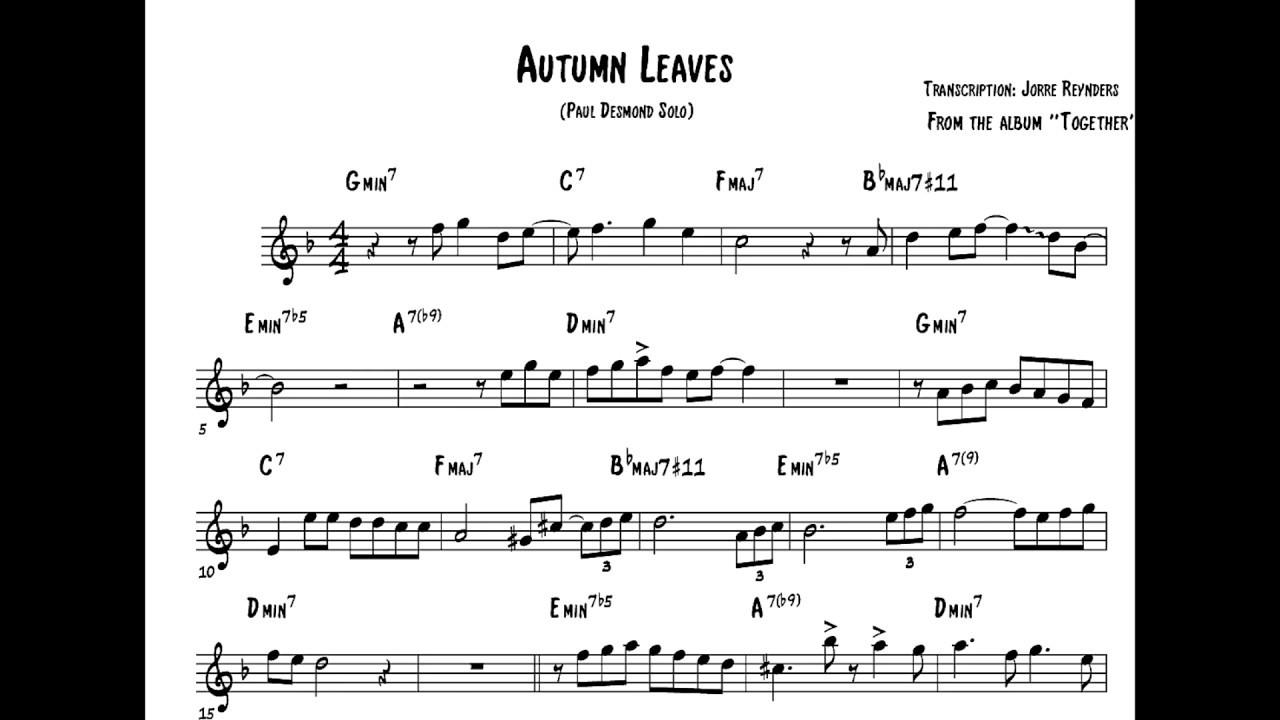 Paul Desmond Solo Transcription on Autumn Leaves (alto saxophone)
