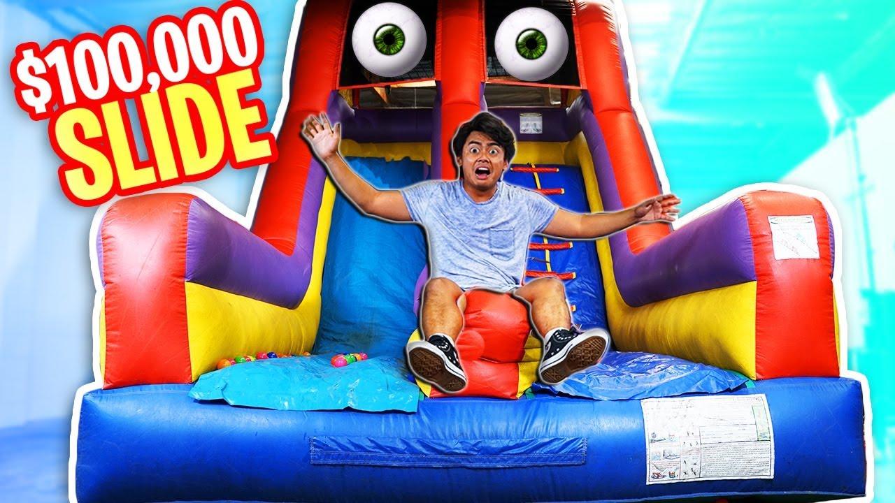 Trapped in a $100k BOUNCY Slide!
