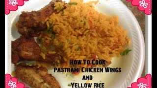 Pastrami Chicken Wings And Yellow Rice