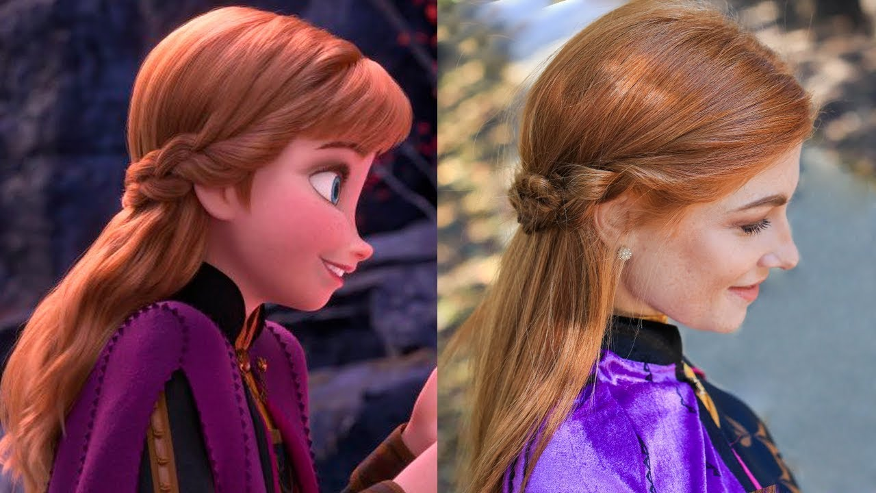 Anna\u2019s Frozen 2 Double Braid,Back Hairstyle Tutorial