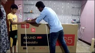 Tcl 65 inch p8e unboxing in tamil