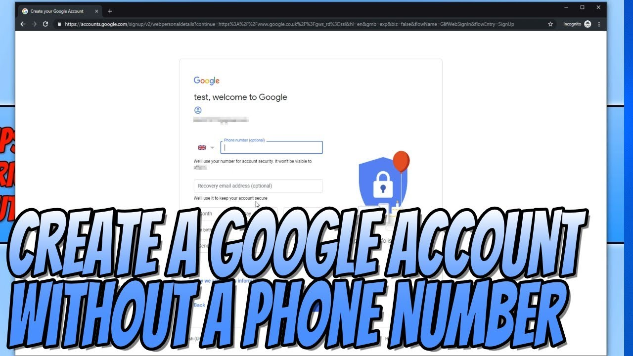 How To Create A Google Account Without A Phone Number Google Account Without Phone Verification Youtube