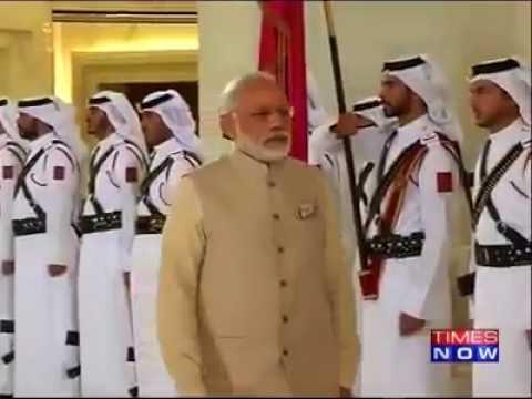 Prime Minister Narendra Modi receives ceremonial welcome at Emiri Diwan in Doha.