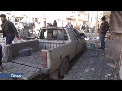 جرحى مدنيون بقصف لميليشيا أسد الطائفية على معرة النعمان جنوب إدلب - سوريا