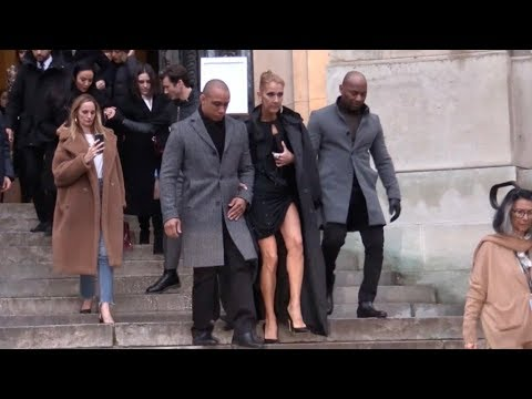 Celine Dion and boyfriend Pepe Munoz coming out of the 2019 Alexandre Vauthier Haute Couture show in