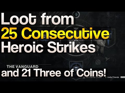 Loot from 25 consecutive heroic strikes and 21 three of coins