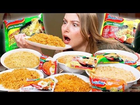 Instant Noodles Mukbang (Every Flavor Indomie)