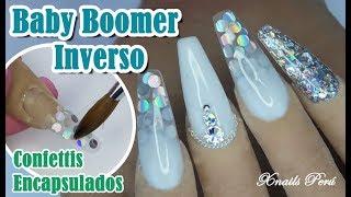 Uñas Acrílicas Baby Boomer INVERSO con Confettis Encapsulados / Xnails Peru