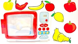 learn names of fruits vegetables in english for children play doh and microwave oven toy videos